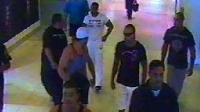CCTV footage from Sydney Airport. The man dressed in white is Mick Hawi, who was found guilty the murder of rival bikie Anthony Zervas. Picture: Supplied.
