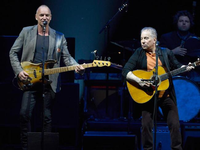 "Legends ... Sting and Paul Simon kicked off their ""On Stage Together"" tour in Houston, Texas. Picture: Kevin Mazur"