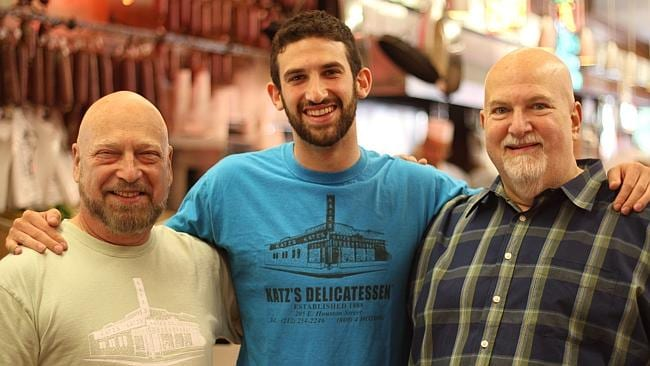 Jake Dell (centre) with fellow Katz's Delis owners Alan Dell (L) and Fred Austin (R).