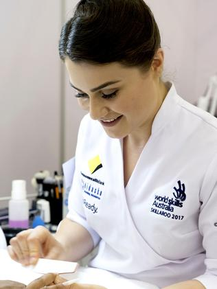 Lily Campbell puts her skills on display. Picture: WorldSkills International