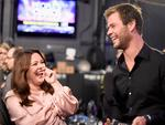 Melissa McCarthy and actor Chris Hemsworth, winner of the award for Favorite Action Movie Actor, appear backstage at the People's Choice Awards 2016. Picture: Getty