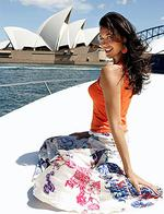 <p>Model Megan Gale getting some sun on Sydney's Harbour in 2004.</p>