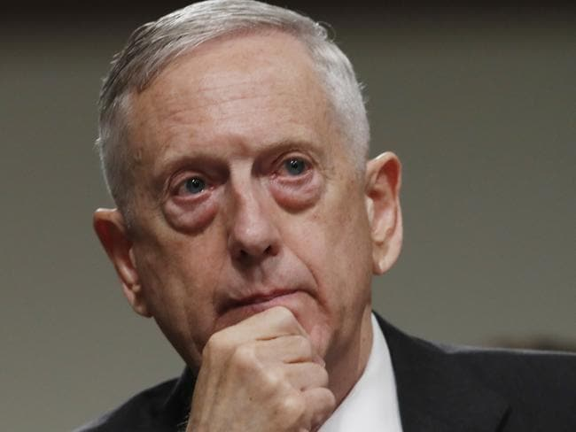 Defence Secretary Jim Mattis listens on Capitol Hill in Washington. Picture: AP