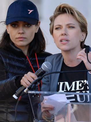 Mila Kunis supports Scarlett Johansson at the Women's March in LA. Picture: Getty