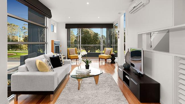 The open-plan living space is on the first floor at 2/135 Ormond Esplanade, Elwood.