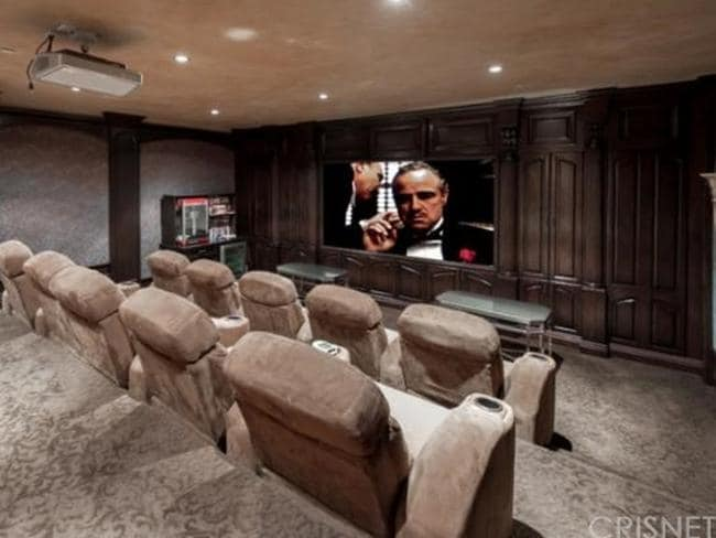 The couple will be able to have private screenings of Carey's cult classic Glitter in their fully-equipped home theatre. Picture: Zillow.com.