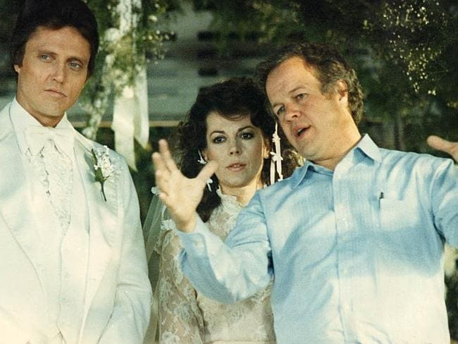Stars Christopher Walken and Natalie Wood stand with Brainstorm director, Doug Trumbull.