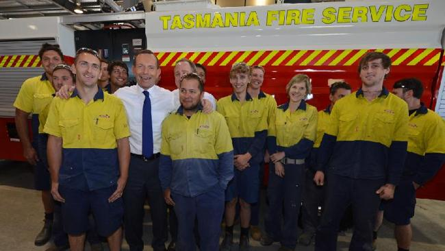 Tony Abbott with apprentices at Mills-Tui in Narangba, Queensland.