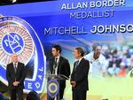 SYDNEY, AUSTRALIA - JANUARY 20: Mitchell Johnson speaks on stage after winning the Allan Border Medal during the 2014 Allan Border Medal at Doltone House on January 20, 2014 in Sydney, Australia. Photo: Getty Images