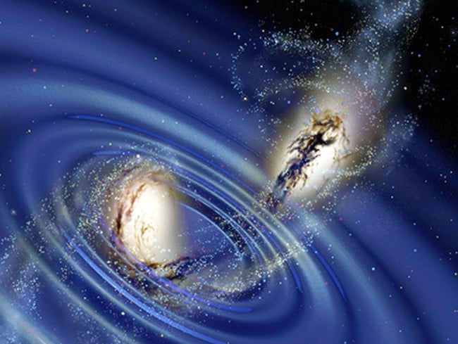 Ripples in space-time ... Einstein predicted that the interaction between massive stellar objects would send out gravitational waves. Picture: Supplied.