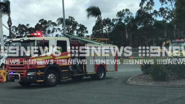 Emergency services on scene at Village Roadshow after an accident. Photo: Sam Cucchiara