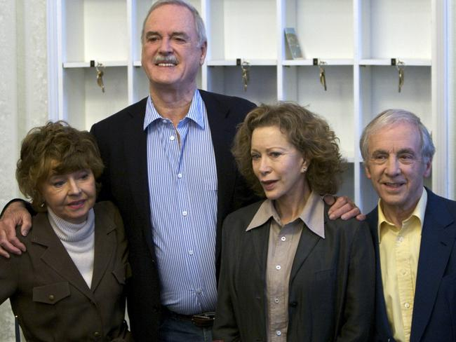 Reunited ... The cast of Fawlty Towers in 2009 from left, Prunella Scales, John Cleese, Connie Booth and Andrew Sachs. Picture: AP