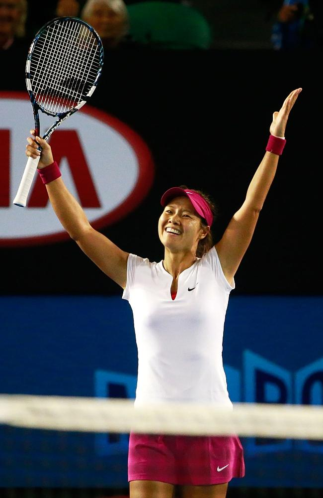 Li Na after claiming victory in the Australian Open women's final. Picture: AFP
