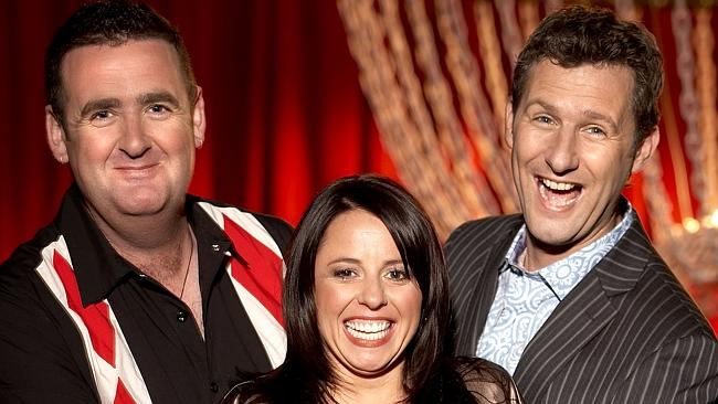 Former-host Adam Hills is joined by the original team captains, Alan Brough and Myf Warhurst from TV. Picture: ABC