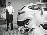 Two dogs taking a wee on this poor bride's dress. I'm sure she laughed about it the next day. Picture: VINICIUS MATOS / ISPWP / CATERS NEWS