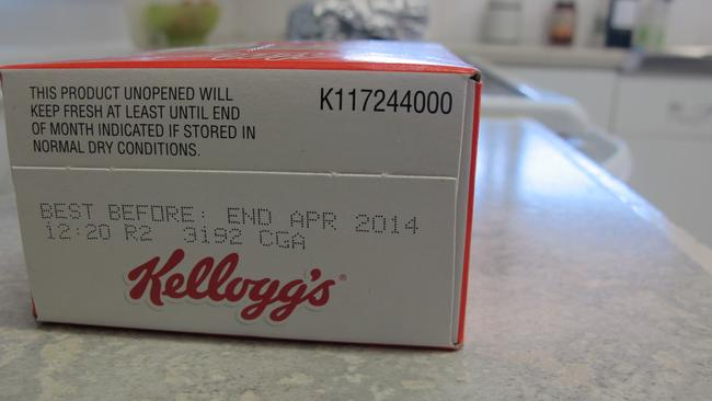 A box of expired Kelloggs cereal