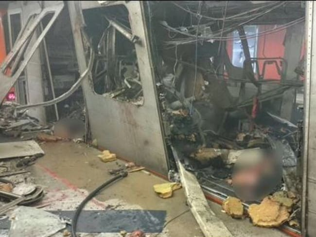 A picture that purports to show inside Maelbeek metro posted on Twitter.