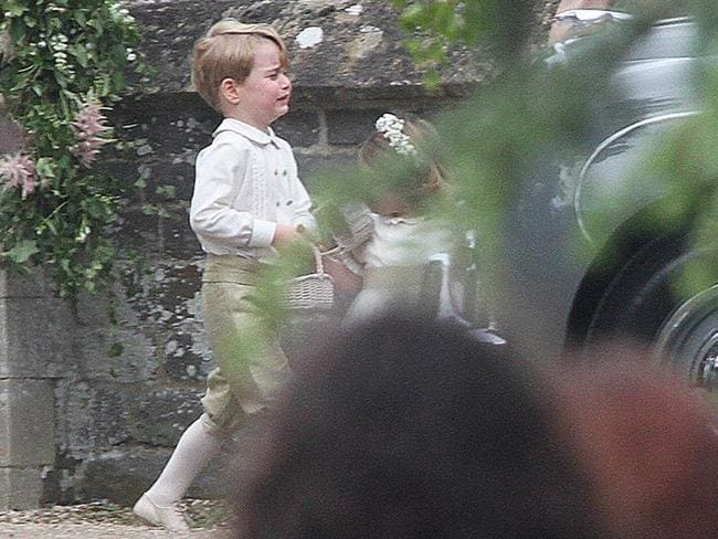 The page boy was left in tears following his aunt Pippa Middleton's wedding. Picture: Greg Brennan