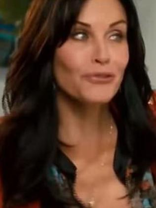 "Courteney Cox in the ""new"" Friends movie trailer. But all is not as it seems. Picture: YouTube"