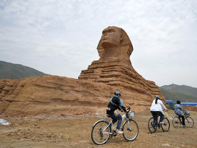 Too real: Replica sphinx in China will be demolished. AP Photo/CHINA OUT