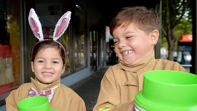 Mali and Zade Baker-Hill collected money on Lygon Street, Carlton. Picture: Nicole Garmston
