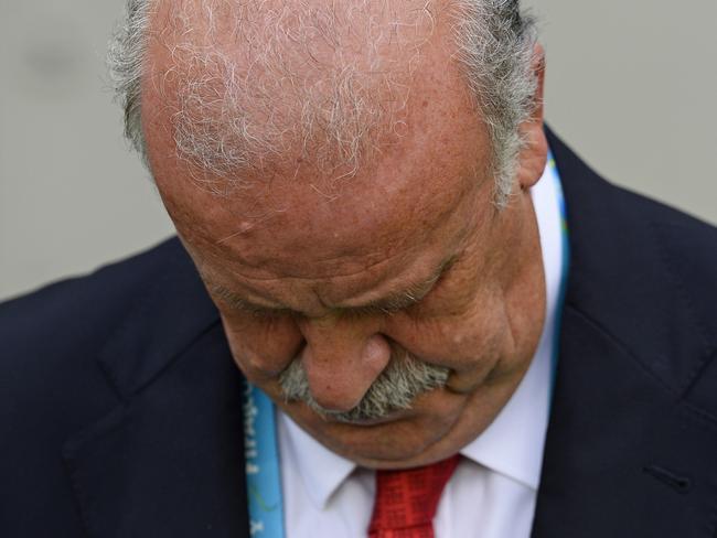 Spain's head coach Vicente Del Bosque is feeling sad.