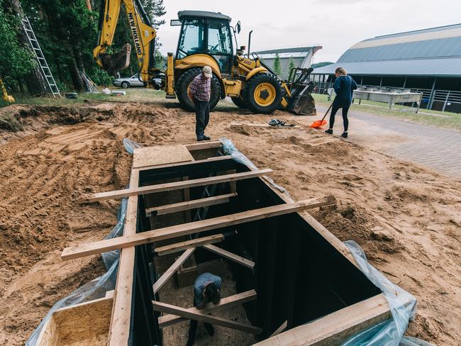 The construction of the hole where Andrius Burba took pictures of horses.