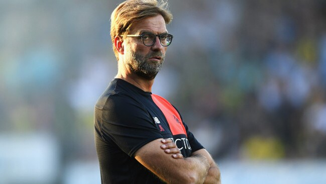 BURTON UPON TRENT, ENGLAND - AUGUST 23: Jurgen Klopp, Manager of Liverpool looks on prior to the EFL Cup second round match between Burton Albion and Liverpool at Pirelli Stadium on August 23, 2016 in Burton upon Trent, England. (Photo by Gareth Copley/Getty Images)
