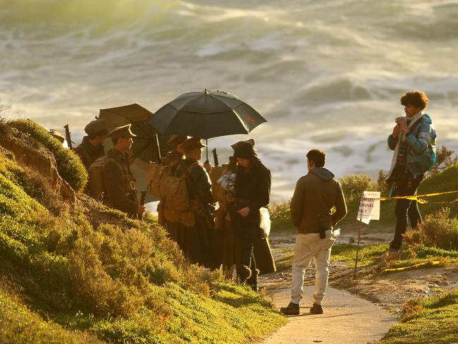A scene from Deadline Gallipoli being filmed at South Australia's Maslin Beach.