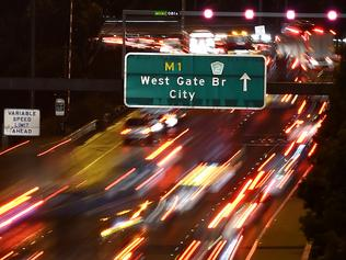 Extra Traffic on the West Gate freeway due to roadworks. Picture: Nicole Garmston