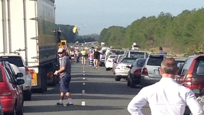 Traffic at a standstill after two accidents on the Bruce Highway. Picture: Terry Gillam/@piperat