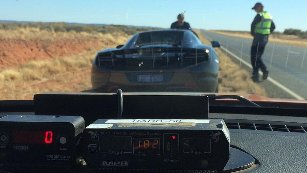 A black McLaren 650S was clocked doing 182km/h down the Stuart Highway Picture: NT Police