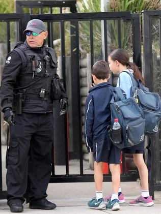 Security outside Mount Sinai College, Maroubra. Picture: John Grainger