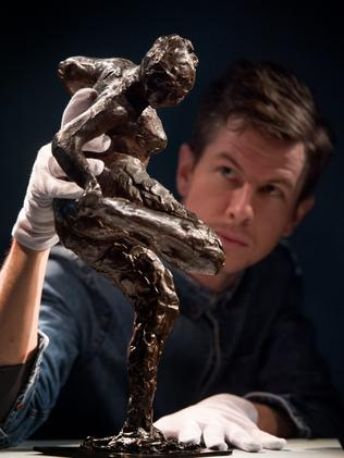Preparing a statue for display in the NGV's Degas blockbuster. Picture Jay Town