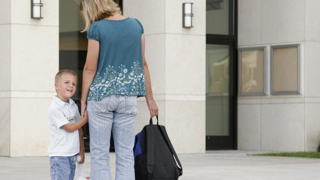 """Mother taking son to preschool, school. Also coul"