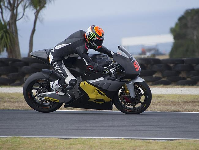 Esteve Rabat of Spain and the Marc VDS Racing Team puts his bike through its paces at Phillip Island.