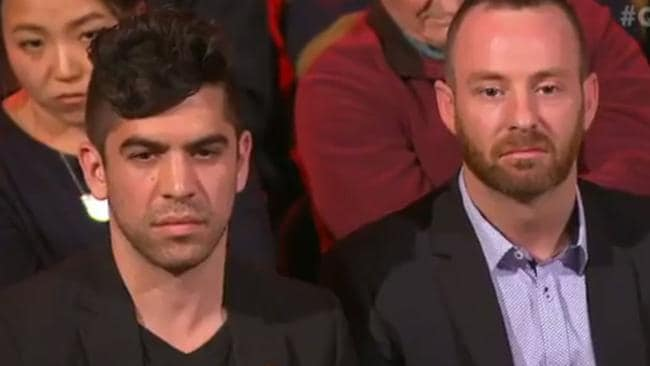 A gay couple in the audience asked if the debate had already sunk to a low.