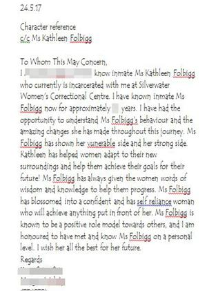 Folbigg letter written by baby killer.