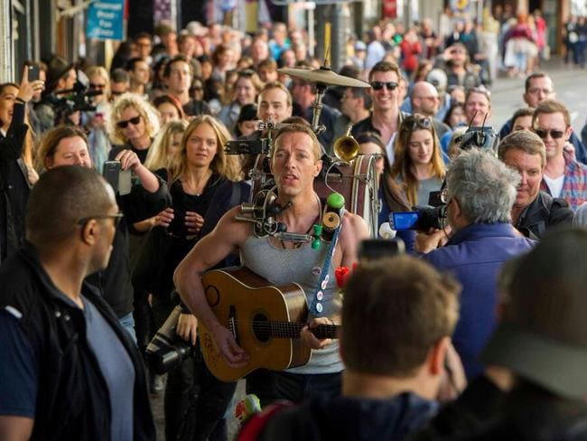 Coldplay's Chris Martin in Newtown. Picture: Chris McKeen