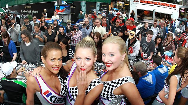 Clipsal 500 grid girls, from left, Sophie, Tess and Brianna are revved up for the action at this year's race. Picture: Dean Martin.