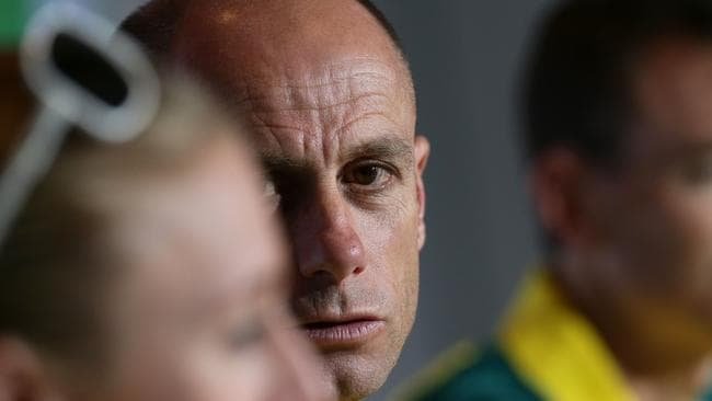 Steve Moneghetti looks towards Sally Pearson at a media conference. Picture: Adam Head