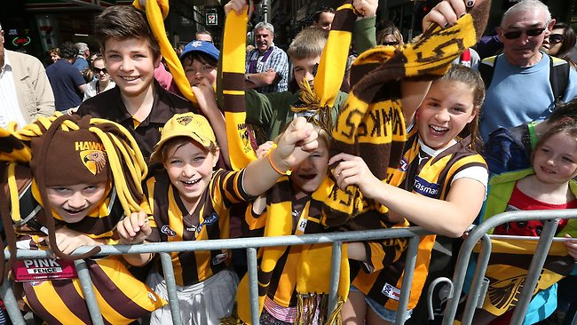 The 2013 AFL Grand Final Parade on the streets of Melbourne before tomorrow's big game. Picture: Alex Coppel
