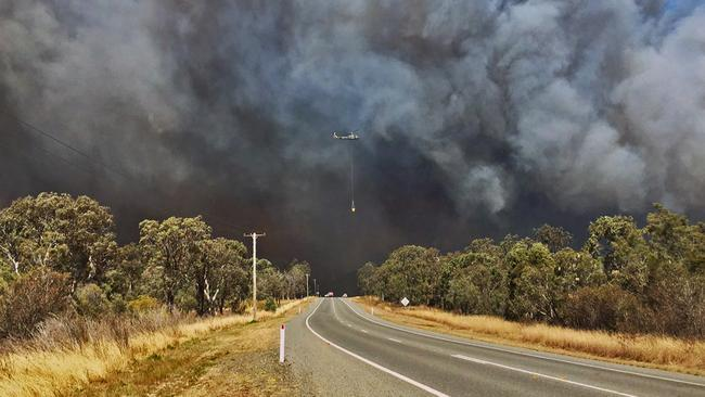 Homes are under threat from bushfires at Richmond Vale, Cessnock and Kurri Kurri. Picture: Twitter