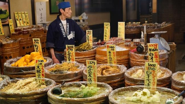 A pickle stall at Nishiki Market in Kyoto. Photo: Adam James.