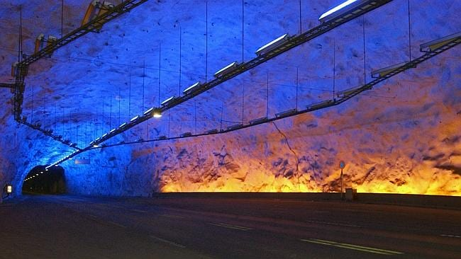 The colourful Laerdal road tunnel. Picture: Jorn Eriksson, Flickr