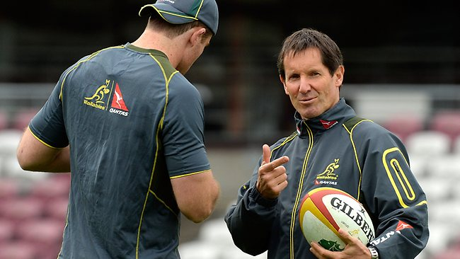 James Horwill speaks with Wallabies coach Robbie Deans. Picture: Bradley Kanaris