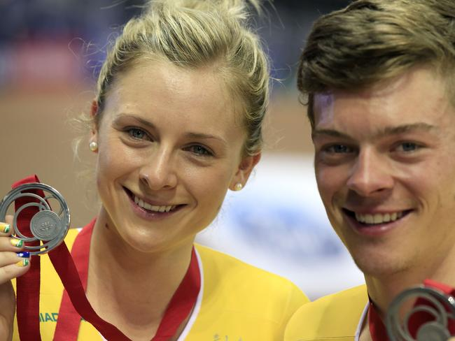 Annette and alex Edmondson pose after winning the silver medals in the men's 4000m individual pursuit and the women's 3000m individual pursuit. Picture: AFP