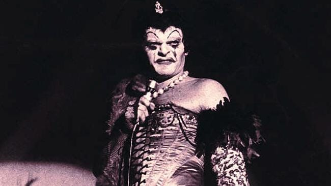 Entertainer Reg Livermore performing as Frank in musical Rocky Horror Show — stage production costumes entertainers
