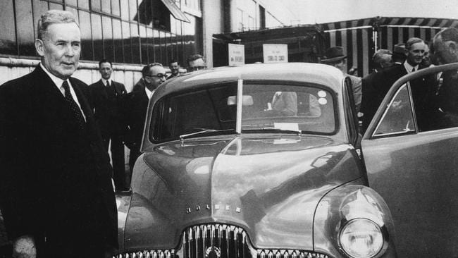 Blast from the past ... Prime Minister Ben Chifley launches the Holden Global V6 launch in 1948