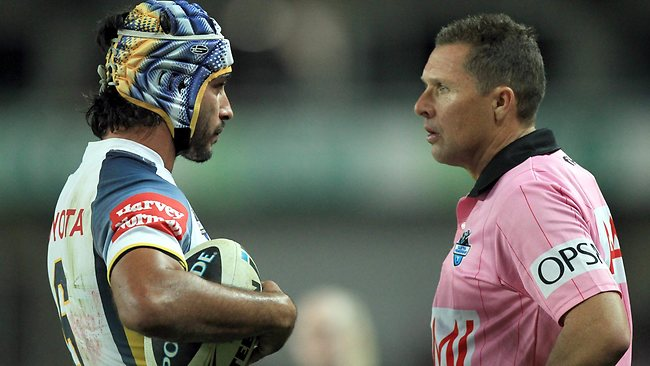 ROBBED: Cowboys captain Johnathan Thurston talks to referee Shayne Hayne. Picture: Mark Evans